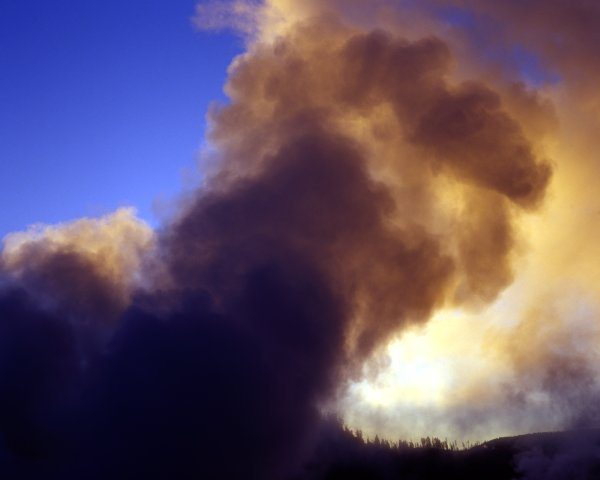 Steam at Midway Geyser Basin at Sunrise